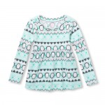 Baby And Toddler Girls Long Sleeve Fairisle Penguin Tunic Top