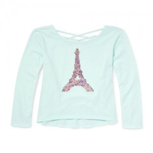 Girls Long Sleeve Cut-Out Back Flip Sequin Graphic Top