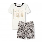 Girls Short Sleeve Glitter 'Style Icon' Top And Leopard Print Shorts Snug Fit Pajamas