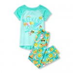 Girls Short Raglan Sleeve 'Weekend Vibes' Emoji Top And Print Pants Pajamas