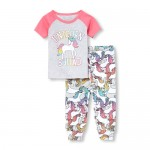 Baby And Toddler Girls Short Raglan Sleeve 'Unicorn Squad' Top And Print Pants Snug Fit Pajamas
