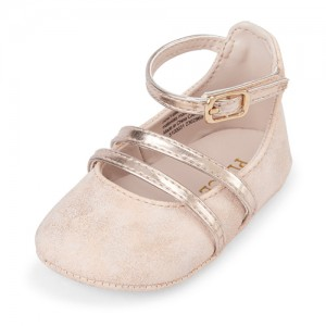 Baby Girls Rose Gold Metallic Triple Strap Ballet Flats
