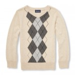 Boys Long Sleeve V-Neck Argyle Sweater