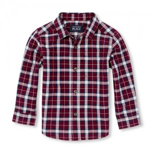 Baby And Toddler Boys Long Sleeve Plaid Poplin Button-Down Shirt
