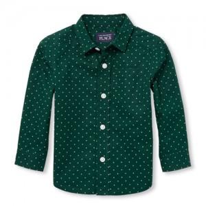 Baby And Toddler Boys Long Sleeve Geo Print Poplin Button-Down Shirt