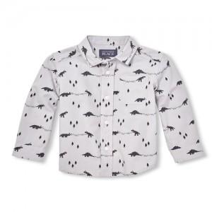 Baby And Toddler Boys Long Sleeve Christmas Dino Print Poplin Button-Down Shirt