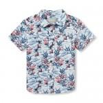 Baby And Toddler Boys Short Sleeve Palm Print Poplin Button Down Shirt