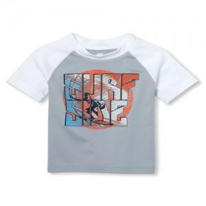 Baby And Toddler Boys PLACE Sport Short Raglan Sleeve Graphic Rashguard