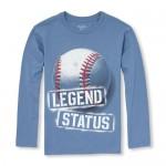 Boys Long Sleeve 'Legend Status' Baseball Graphic Tee