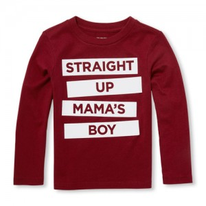 Baby And Toddler Boys Long Sleeve Straight Up Mamas Boy Graphic Tee