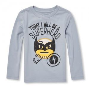 Baby And Toddler Boys Long Sleeve Superhero Emoji Graphic Tee