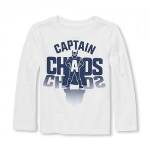 Baby And Toddler Boys Long Sleeve Captain Chaos Graphic Tee