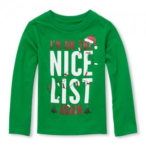 Baby And Toddler Boys Long Sleeve Im On The Nice List Graphic Tee