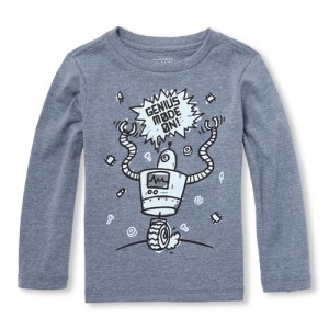 Baby And Toddler Boys Long Sleeve Genius Mode On! Robot Graphic Tee