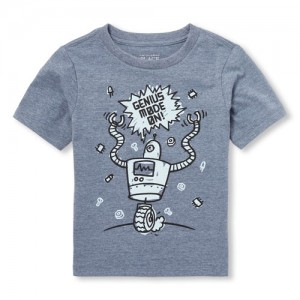 Baby And Toddler Boys Short Sleeve Genius Mode On! Robot Graphic Tee