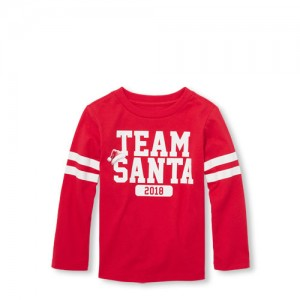Baby And Toddler Boys Matching Family Long Sleeve Team Santa 2018 Graphic Tee