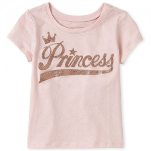 Baby And Toddler Girls Short Sleeve Glitter 'Princess' Graphic Tee