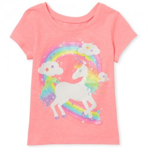 Baby And Toddler Girls Short Sleeve Glitter Rainbow Unicorn Graphic Tee