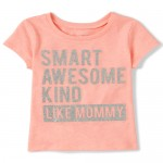 Baby And Toddler Girls Short Sleeve Glitter 'Smart Like Mommy' Graphic Tee