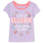 Baby And Toddler Girls Short Sleeve Glitter 'Wrapped Around My Finger' Graphic Tee