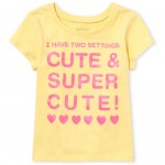 Baby And Toddler Girls Short Sleeve Glitter 'Cute And Super Cute!' Graphic Tee