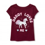 Baby And Toddler Girls Short Sleeve Glitter 'Daddy Loves Me' Unicorn Graphic Tee
