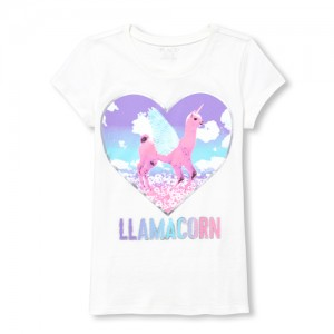 Girls Short Sleeve 'Llamacorn' Graphic Tee