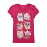 Girls Short Sleeve Glitter Cupcakes Graphic Tee