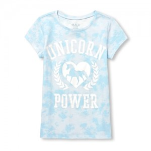 Girls Short Sleeve 'Unicorn Power' Tie Dye Graphic Tee