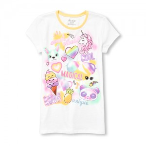 Girls Short Sleeve Airbrush Statement Emoji Graphic Tee