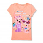 Girls Short Sleeve Texting Cat Graphic Tee