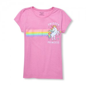 Girls Short Sleeve Glitter 'Unicorn Princess' Graphic Tee