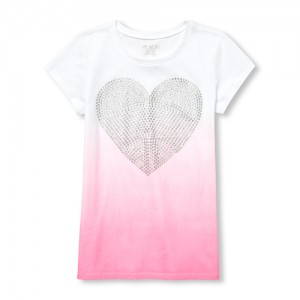 Girls Short Sleeve Glitter Heart Ombre Graphic Tee