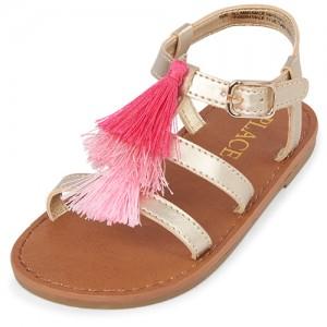 Toddler Girls Tassel Metallic Gladiator Sandals