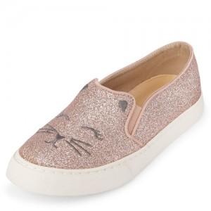 Girls Cat Glitter Slip On Sneakers