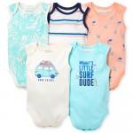 Baby Boys Sleeveless Surf Bodysuit 5-Pack