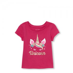 Baby And Toddler Girls Mommy And Me Short Sleeve Glitter 'Unicorn' Matching Graphic Tee