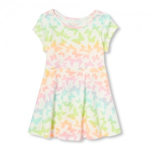 Baby And Toddler Girls Short Sleeve Rainbow Butterfly Print Knit Dress