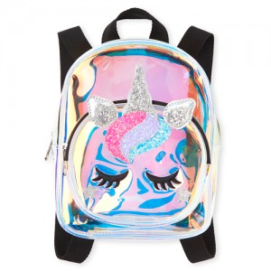 Girls Glitter Unicorn Iridescent Mini Backpack