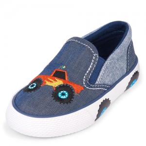 Toddler Boys Tiny Collections Embroidered Slip On Sneakers - Beep Beep