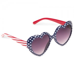 Toddler Girls Americana Glitter Heart Frame Sunglasses