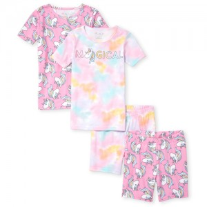 Girls Short Sleeve Unicorn Tops And Print Shorts 4-Piece Snug Fit Pajamas