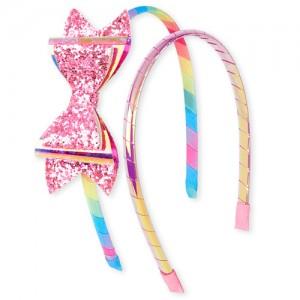 Girls Iridescent Bow Headband 2-Pack