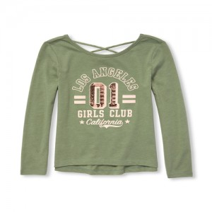 Girls Long Sleeve Cut-Out Back Embellished Graphic Knit Top
