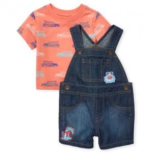Baby Boys Short Sleeve Surf Car Print Top And Shark Patch Denim Shortalls Set