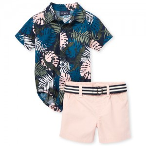 Baby Boys Short Sleeve Palm Print Poplin Button Down Bodysuit And Woven Shorts Set