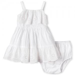 Baby Girls Sleeveless Eyelet Woven Dress And Bloomers Set