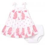 Baby Girls Sleeveless Paisley Print Woven Tier Dress And Bloomers Set