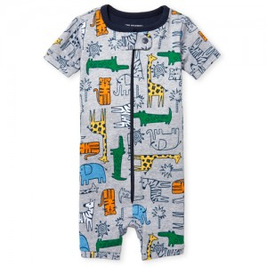 Baby And Toddler Boys Short Sleeve Jungle Print Cropped Snug Fit Stretchie