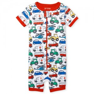 Baby And Toddler Boys Short Sleeve Transportation Print Cropped Snug Fit Stretchie
